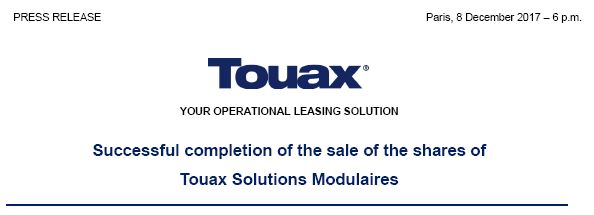 Successful completion of the sale of the shares of Touax Modular Solutions