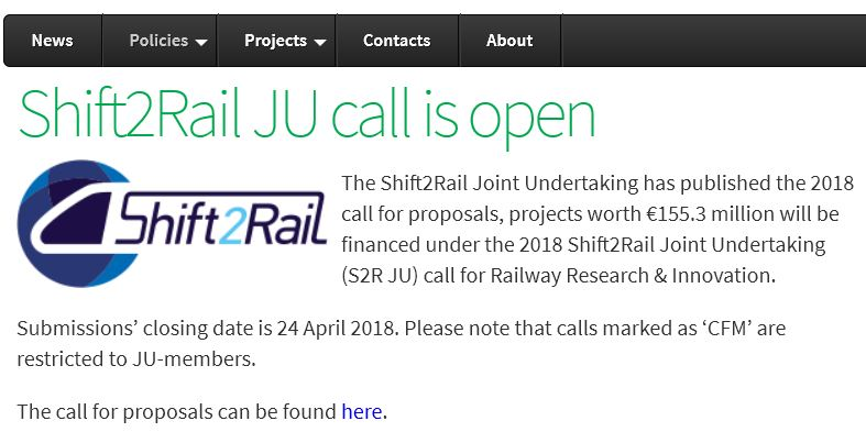 Shift2Rail JU call